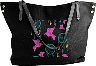 Women's Canvas Large Tote Shoulder Handbag Origami And Dream Catchers Messenger Bags