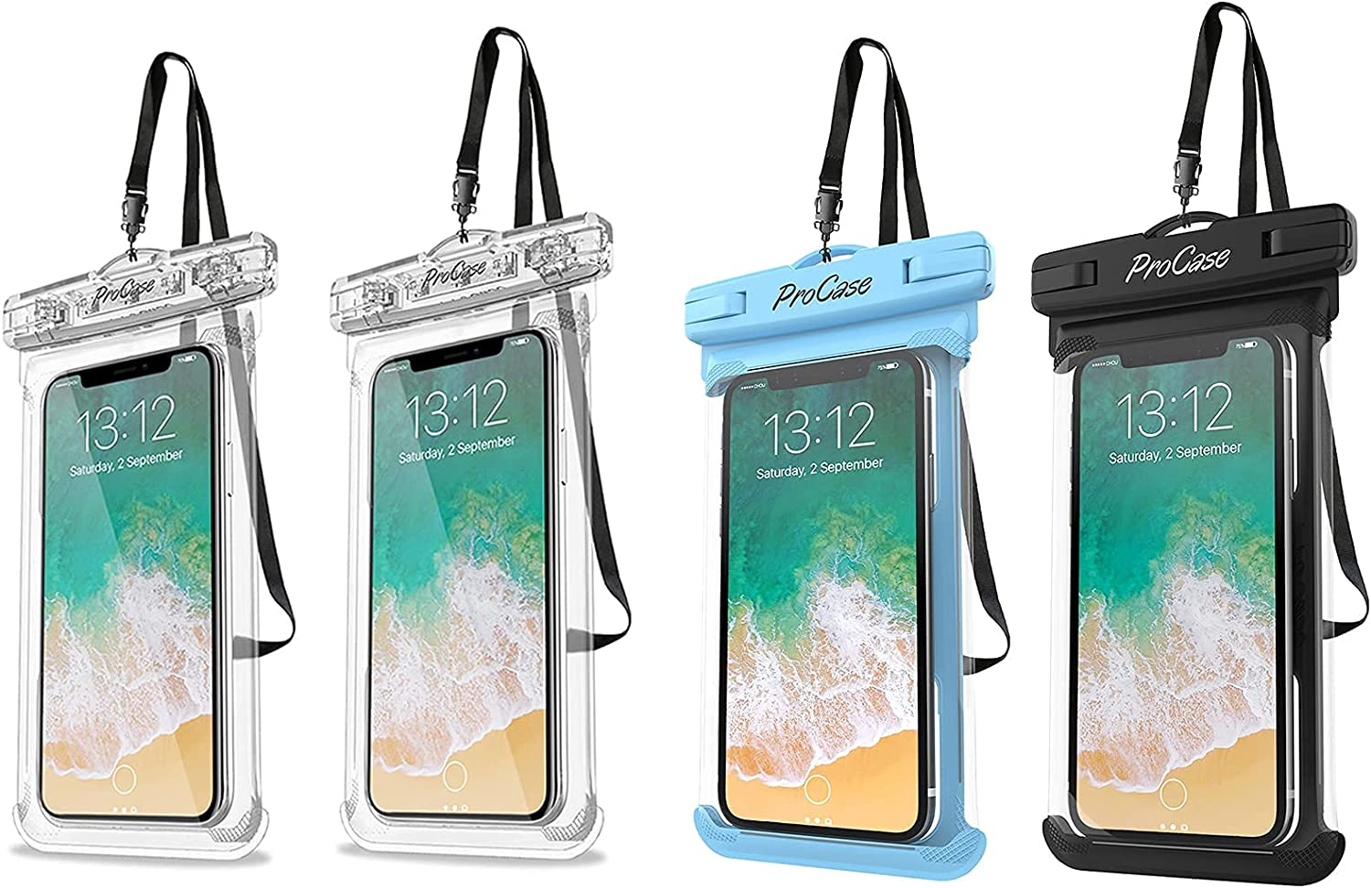 ProCase [2 Pack] Universal Waterproof Pouch Cellphone Dry Bag Case Bundle with [2 Pack] Universal Waterproof Case for Phones up to 7