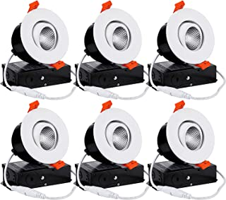 TORCHSTAR 6-Pack 3 Inch Gimbal LED Dimmable Recessed Light with J-Box, 7W (50W Eqv.) 500lm, Airtight, ETL/Energy Star/JA8/Title 24, CRI 90+, 3000K Warm White, 5 Years Warranty, White