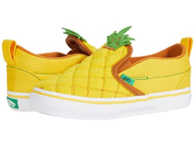 Vans Kids Slip-On V (Infant/Toddler) (Pineapple/Lemon Chrome) Girls Shoes