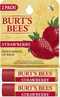 Burt's Bees 100% Natural Moisturizing Lip Balm, Strawberry with Beeswax & Fruit Extracts - 2 Tubes