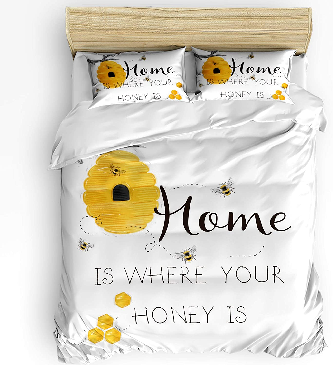 3 Pieces Soft Bedding Jacksonville Mall Set Home is 2021 spring and summer new Bee Your Honey Farm H Where