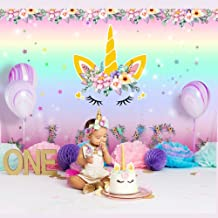 Aytai 7x5ft Unicorn Backdrop Birthday Party Decoration Unicorn Backdrops for Party, Rainbow Floral Love Photography Background for Unicorns Party Supplies