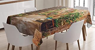 Italian Tablecloth, View of Old Mediterranean Street with Stone Rock Houses in Italian City Rural Print, Rectangular Table Cover for Dining Room Kitchen Decor, Stone Green,60x120inch