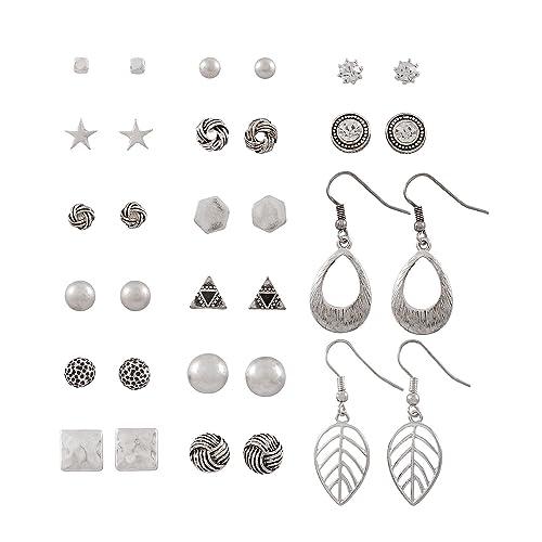 909f1613e SIX - Set of 16 earrings, ear studs and dangle earrings, silver-coloured