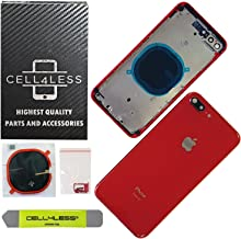 CELL4LESS Back Housing Assembly Metal Frame w/Back Glass - Wireless Charging pad - Sim Card Tray and Camera Frame w/Lens Compatible Only with iPhone 8 Plus (Product Red)