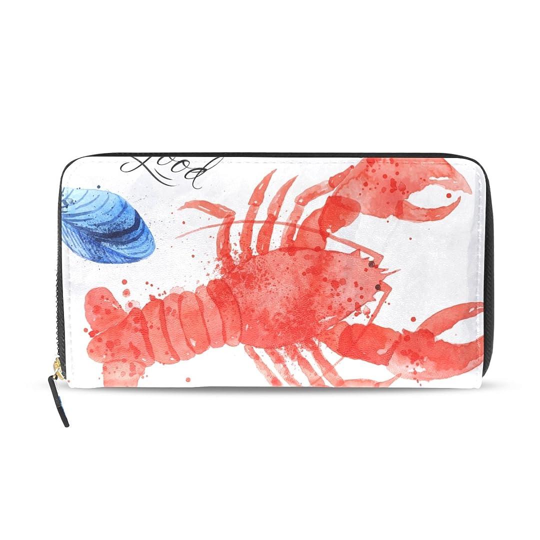 焼く薄汚いタイプライターAOMOKI 財布 レディース 長財布 大容量 エビ フット カラフル ラウンドファスナー PUレーザー 幅20*丈11cm