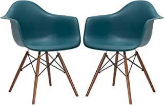 Poly and Bark Vortex Arm Chair Walnut Leg, Teal, Set of 2