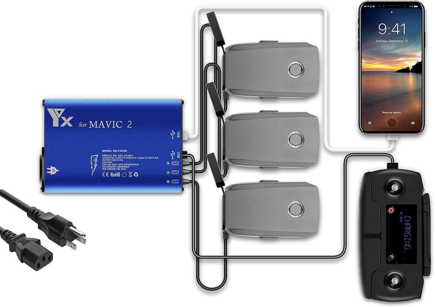 Mavic 2 Battery Charger, Accessories for DJI Mavic 2 Pro Zoom, 5 in 1 Rapid Parallel Battery Charging Hub Station, 3 Batteries, 2 USB Ports