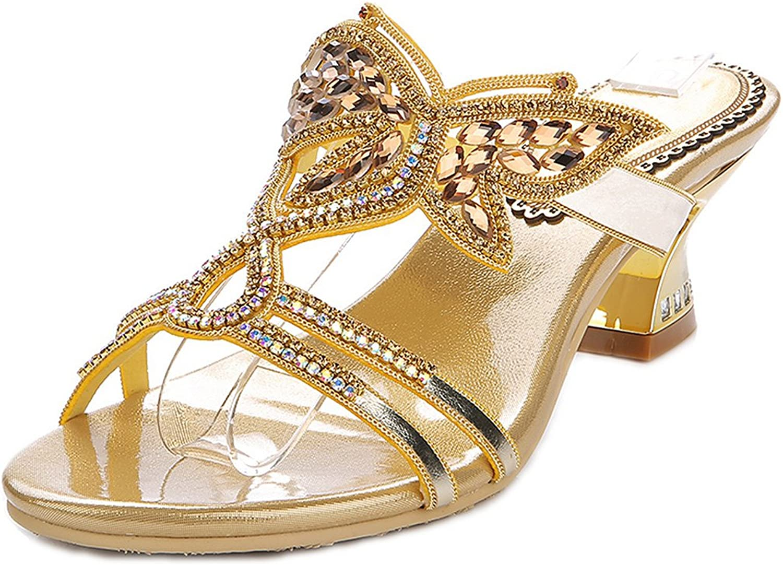 LizForm Women Slip On Casual Sandals Triple Strap Butterfly Patterned Rhinestone Sandal