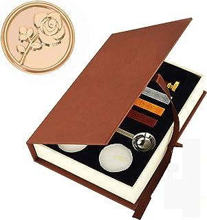 Wax Seal Vintage Rose Sealing Wax Stamp Set Gift Box Wedding Envelope Supply Stamp Kit Retr Gift Box Set Brass Color Head ...