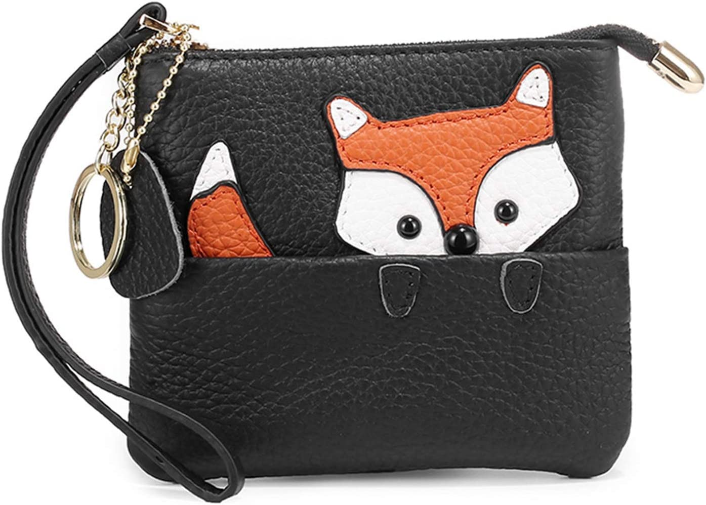 HttKse Coin Purses Wallets Charming Lovely Design Fox Coin Purse Ladies Leather Change Wallet Coin Pouch Key Bag with Key Chain Money Clips Coin Pouches (Color : Black, Size : 13x12x1.5cm)