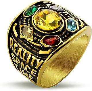 Marvel Avengers Thanos Rings Gold Infinite Power Gauntlet Crystal Ring for Men Stainless Steel Infinity War Men Keyring (Gold, 13)