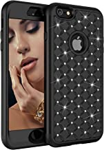 iPhone 6S Plus Case, iPhone 6 Plus Case, Dooge Diamond Studded Bling Rhinestone Shockproof Hybrid Armor Defender Full-body Rugged High Impact Protective Cover for iPhone 6S Plus/6 Plus - Black