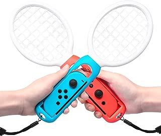 FYOUNG マリオテニス エースと連動するテニスラケット ラケット型アタッチメント Nintendo Switch Joy-Con用 マリオテニスなどのテニスゲームに対応 落下防止ストラップ付き 軽量ABS製 テニスゲームの臨場感 2点セット (ホワイト)