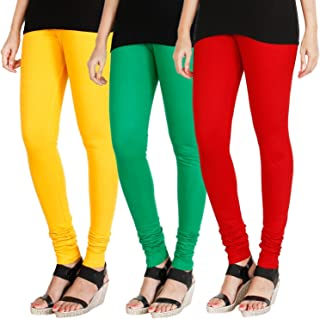 Swastik Stuffs Women's Cotton Lycra Leggings Combo Offer for Women (SSLYGR3_Yellow,Green,Red_Free Size)(Pack of 3)