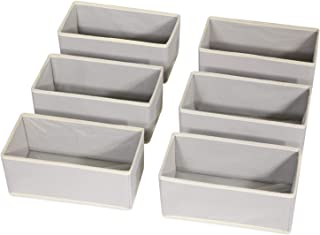 DIOMMELL Foldable Cloth Storage Box Closet Dresser Drawer Organizer Fabric Baskets Bins Containers Divider for Clothes Underwear Bras Socks Lingerie Clothing,Set of 6 Grey 060