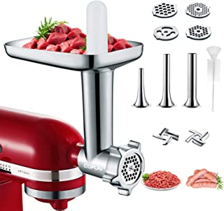 Metal Meat Grinder Attachments for KitchenAid Stand Mixers, Cofun Accessories Included 4 Grinding Plates, 3 Sausage Stuffe...