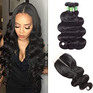 ANNELBEL Brazilian Virgin Hair Bundles with Closure Body Wave Human Hair Bundles with Lace Closure 100% Unprocessed Brazilian Virgin Hair Body Wave Bundles 10 12 14 with 10 Middle Part Closure