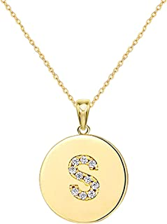 Nanafast Cubic Zirconia Initial Necklace for Women & Teen Girls Dainty CZ Setting Round Disc Coin Alphabet 26 Capital Lett...