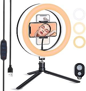 ESDDI 10 tum LED-ringlampa med stativstativ och dimbar ljusstyrka, selfie-ringlampa med telefonhållare för livestreaming, ...
