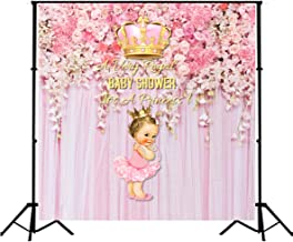 Royal Princess Baby Shower Backdrop Pink Flowers Baby Shower Wedding Background 5x5ft Vinyl Girl's Birthday Party Banner Decoration Supplies SM-046
