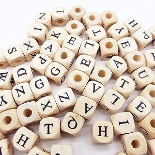 Sprießen 200 stuks natuurlijk houten alfabet kralen, ABC puzzel alfabet houten kralen om de creativiteit en spelling van k...