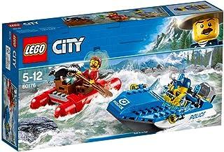 لعبة القارب السريع للهروب عبر النهر من شرطة المدينة من ليجو 60176، طقم بناء قارب شرطة سريع للأطفال للأولاد