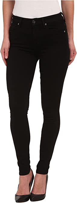 7 For All Mankind - The Highwaist Skinny w/ Contour Waistband in Slim Illusion Luxe Black