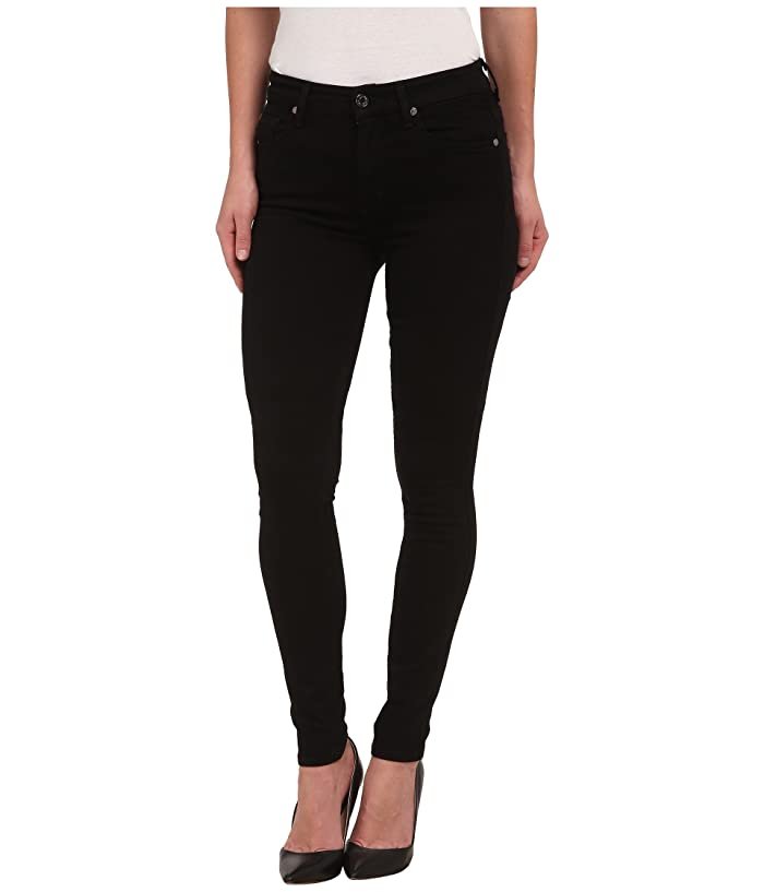 7 For All Mankind The Highwaist Skinny W Contour Waistband In Slim Illusion Luxe Black
