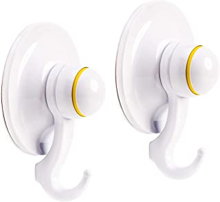 Qmagic Patented Technological Strong Vacuum Suction Cup Hooks - Suitable for Rough Surfaces - Heavy Duty Hooks Organizer for Towel, Robe, Loofah - Removable - Reusable - Cup Diameter 72mm (White, 2)