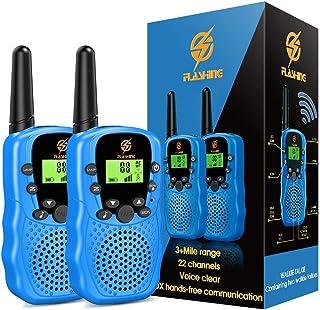 EUTOYZ Talkies Walkies Enfants Radio à 2 Voies avec 22 Canaux, Lampe de Poche LCD Rétro-éclairée