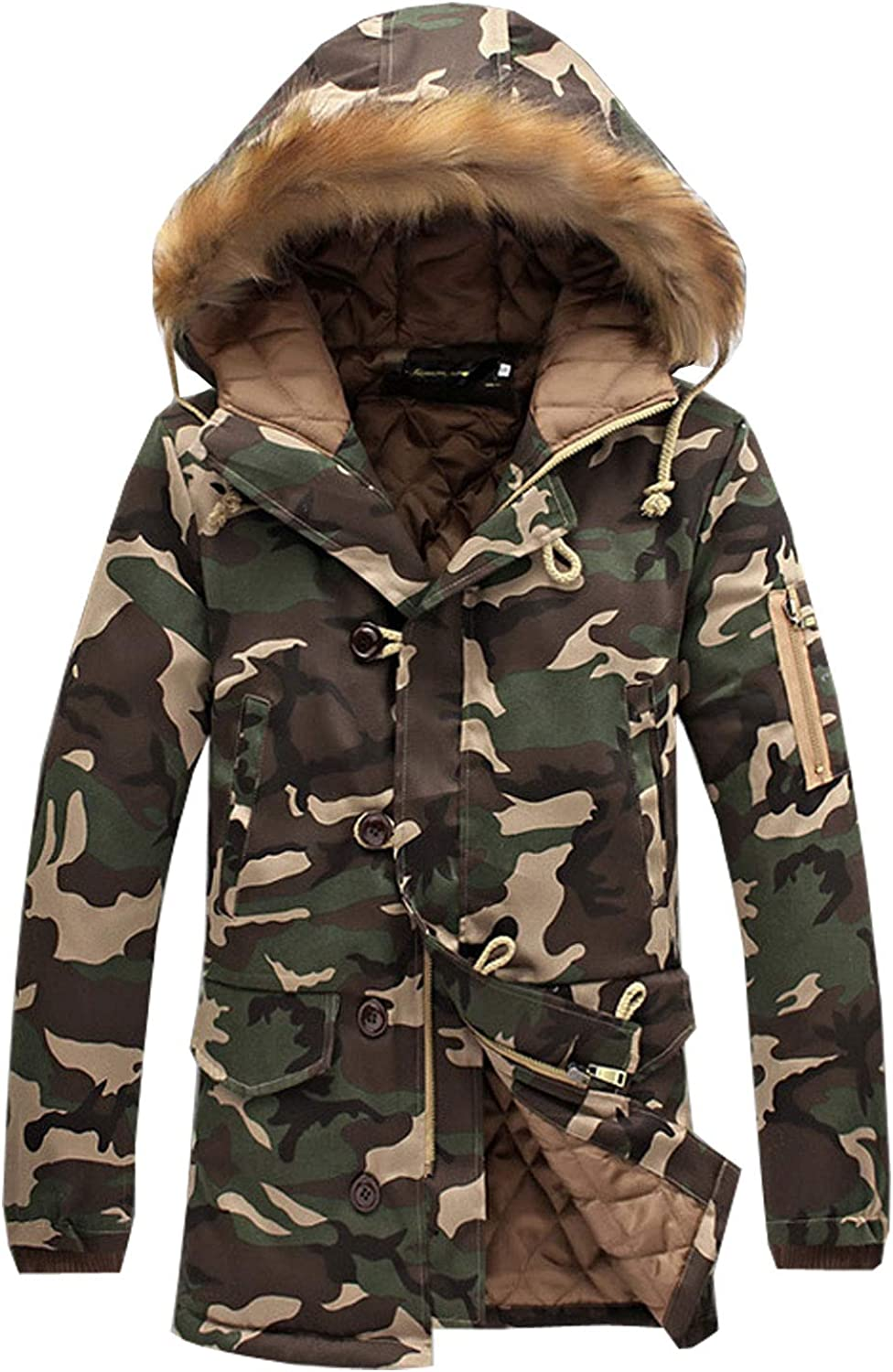 Flygo Mens Hooded Padded Camo Coat Quilted Puffer Jacket Fur Trimmed
