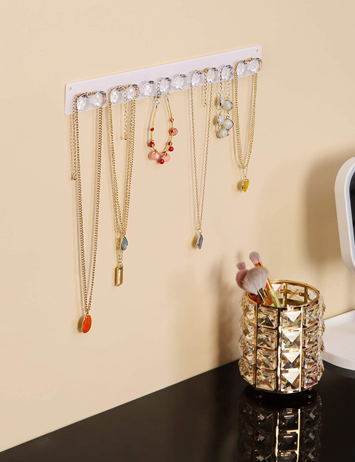 Mymazn 4 Pack Necklace Hangers Acrylic Necklaces Holder Wall Mounted Jewelry Organizer Hanging with 12 Diamond Shape Hooks Gift for Girls Women Jewelry Hangers for Necklace