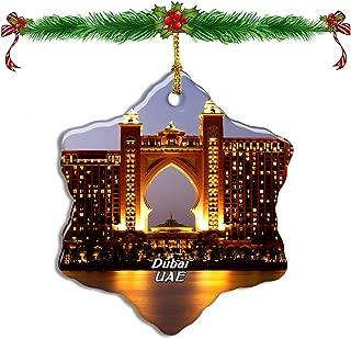 Fcheng UAE Atlantis Aquaventure Waterpark Dubai Christmas Ceramic Ornament Tree Decor City Travel Souvenir Double Sided Snowflake Sublimation Porcelain Hanging Ornament