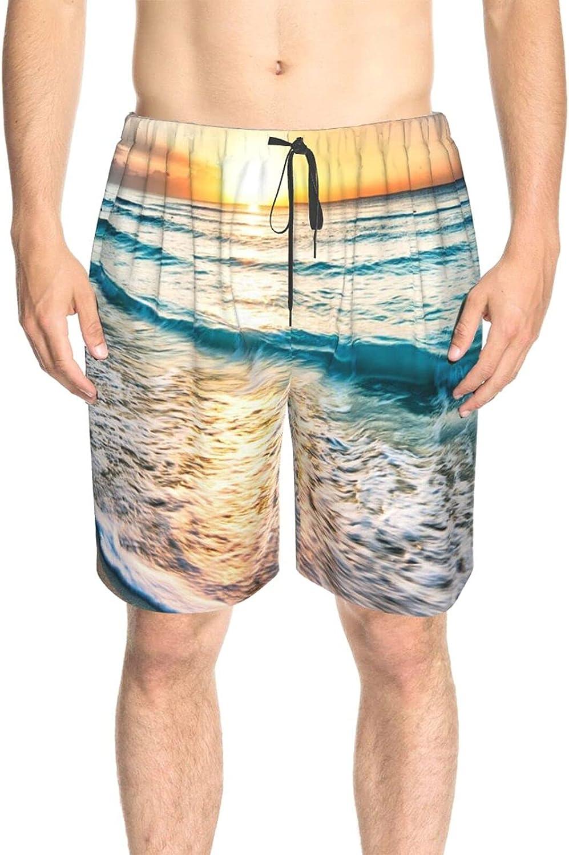 Men's Swim Trunks Beach Sea Summer Sunset Bathing Suit Boardshorts Drawstring 3D Printed Swimwear Beach Shorts