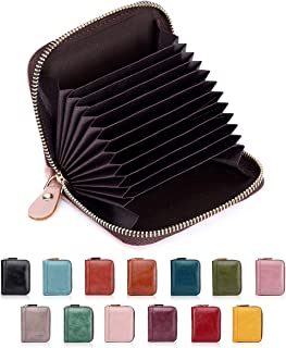 Credit Card Protector RFID Blocking Small Women Card Holder Cases for Men Unisex PU Leather Coin Purse Zipper Bifold 8118PINK
