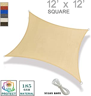 SUNNY GUARD 12' x 12' Sand Square Sun Shade Sail UV Block for Outdoor Patio Garden
