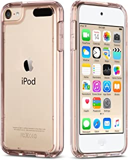 ULAK iPod Touch 6 Case, iPod Touch 7 Case, Clear Slim Hybrid Clear Bumper TPU/Scratch Resistant Hard PC Back/Corner Shock Absorption Case for Apple iPod Touch 5th/6th/7th Generation (Rose Gold)