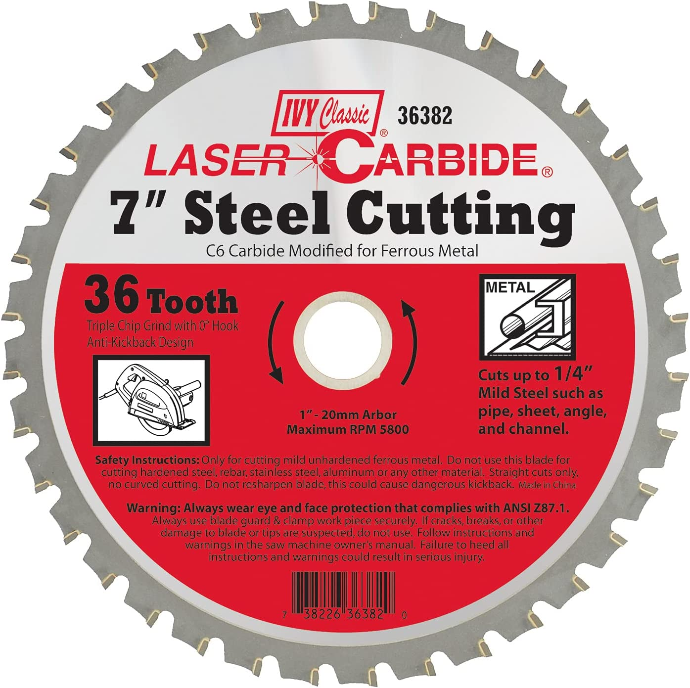 IVY Classic online Max 41% OFF shopping 36382 Laser Carbide 7-inch Cutting Ci Steel 36 Tooth