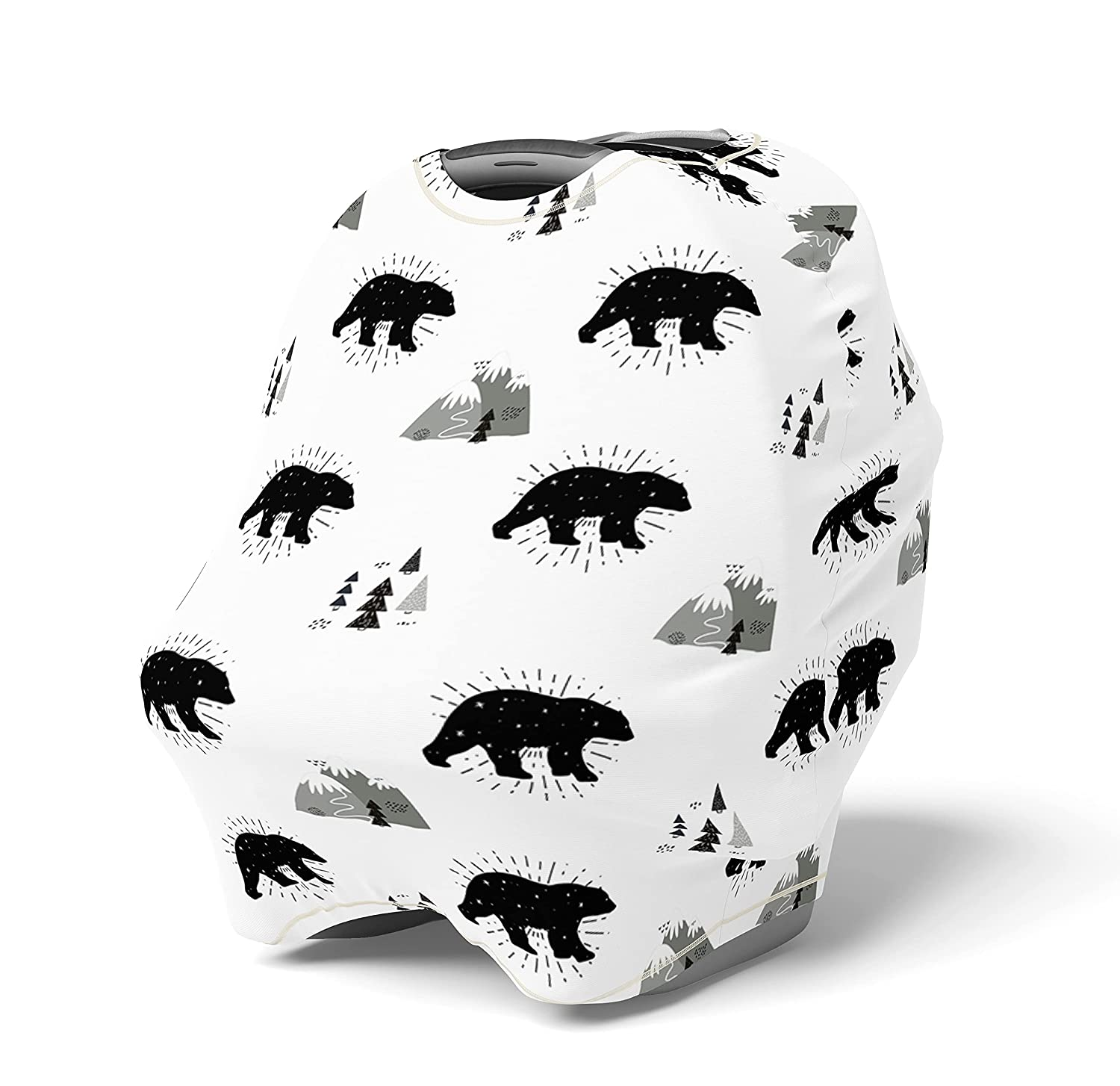 Stretchy Multi Use Cover Car Seat Canopy Woodland Bears Nursing Cover Shopping Cart Baby Cover