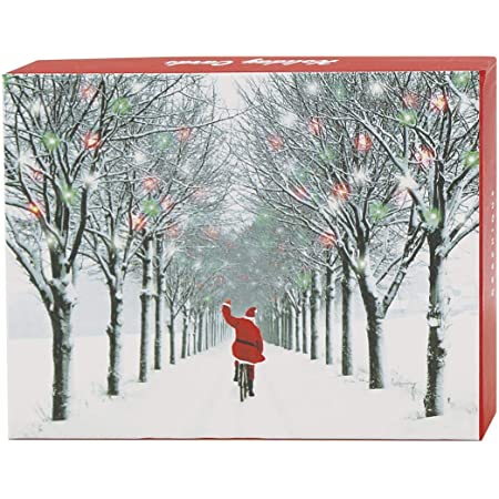 """Graphique Santa's Christmas Assorted Boxed Cards — 20 Embellished Glitter Christmas Cards in 4 Designs of Santa in Snow, Holiday Cards Includes Matching Envelopes and Storage Box, 4.25"""" x 5.875"""""""