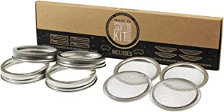 Trellis + Co. | Stainless Steel Sprouting Kit, 4 Pack | Rust Proof 316 Stainless, Curved Mesh, Fits Most Wide Mouth Mason Jars | Grow Your Own Organic Sprouts from Seeds, Sprouter
