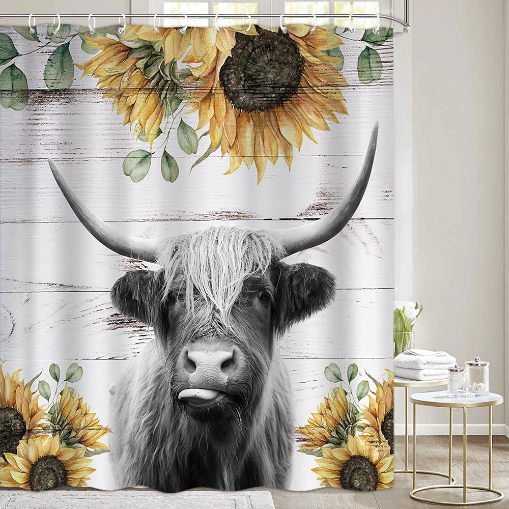 Highland Cow Shower Max 52% OFF Curtains Sets Far Rustic Overseas parallel import regular item Bathroom Funny for