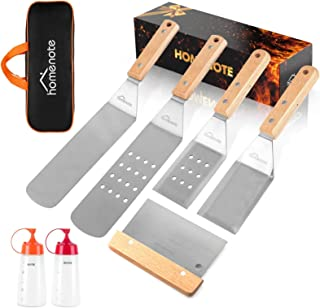 HOMENOTE Griddle Accessories Kit, 7Pc Professional BBQ Kit in Gift Box - Heavy Duty Wooden Handle Stainless Steel Griddle ...