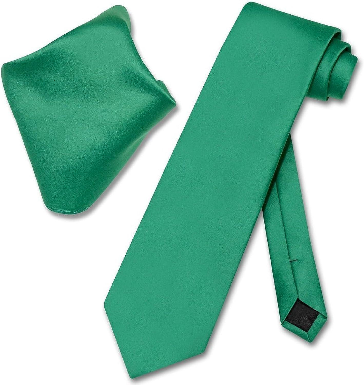 Men's Solid Color NeckTie & Matching Pocket Square Handkerchief Set