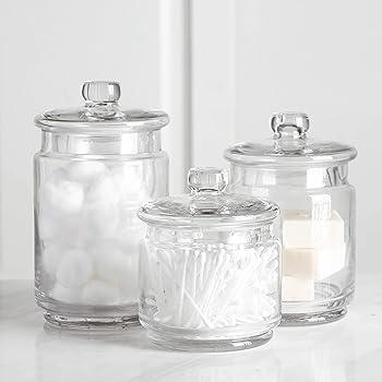 Amazon Com Mini Glass Apothecary Jars Cotton Jar Bathroom Storage Organizer Canisters Set Of 3 Home Improvement
