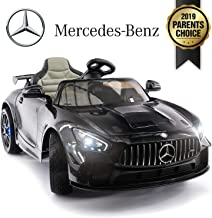 Mercedes Benz AMG Kids Car Carbon 12V Powered, Built-in LCD Dashboard, Race Car Wheel, Leather Seat, LED Lights, Parental Remote