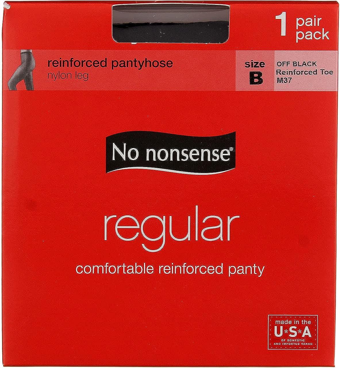 No Nonsense Pantyhose, B, Off Black, Regular, Sandalfoot (Pack of 2)