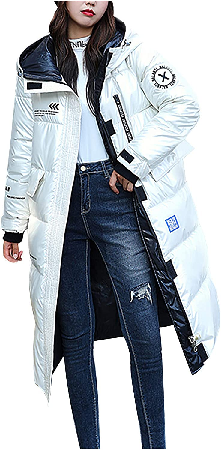 WUAI-Women Thickened Long Down Jackets with Fur Hooed Warm Winter Maxi Down Parka Puffer Jacket Overcoat Plus Size
